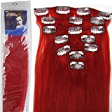 Straight Remy Human Hair Extensions 24 Colors for Your Choose in 15inch ,18inch ,20inch ,22inch ,Beauty Salon Women's Accessories (20inch 70g, #red) by lilu by lilu