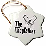 3dRose Carsten Reisinger - Illustrations - The Chopfather Fun Kitchen Chef Design Culinary Master - 3 inch Snowflake Porcelain Ornament (orn_268569_1)