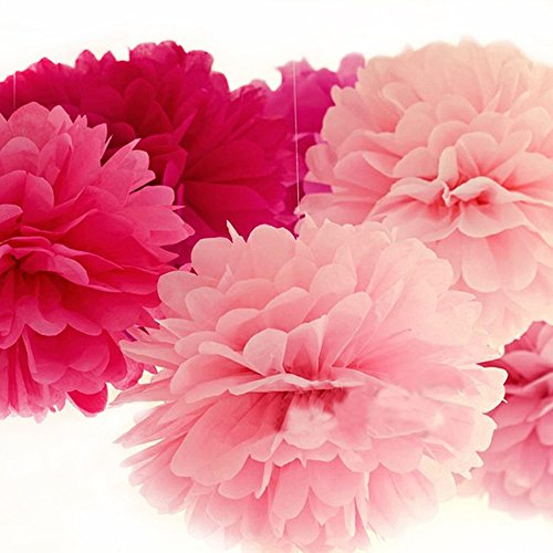 BCP Pack of 6pcs, 2 Sizes Tissue Paper Flower Pom Poms for Weddings, Birthday Parties Decorations and - Pom Poms Pack