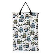 Large Hanging Wet/dry Cloth Diaper Pail Bag for Reusable Diapers or Laundry (Owl&tree)