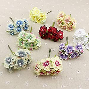 GSD2FF 6pcs Pearl Silk Artificial Flowers Garland Head Wreaths for Wedding car Decoration Bouquet Decorative Corsage 45