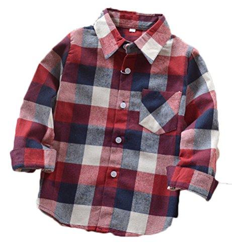 Lungo 06 Shirt Ragazzi Del Occidentale Del Poco Plaid Manicotto Flanella Soojun Grandi 0P5xq