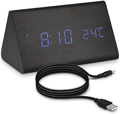 kwmobile Reloj Despertador Digital con Cable USB - Pantalla LED y activación táctil - Indicador de Temperatura y Calendario en Madera y LED Azul