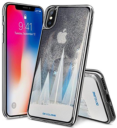Fundas iphone X Mujer,Rosa Pearl Glitter Fluido Liquids Transparente TPU Purpurina Brillantes Funda Carcasa Protectora Apple iPhone X,iPhone 10 para Mujer y chica -Rosa Perla Liquids