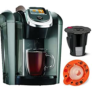 Keurig K545 Plus Coffee Maker Single Serve 2.0 Brewing System with Top Needle Cleaning Maintenance Accessory and My K-Cup Reusable Coffee Filter, Platinum