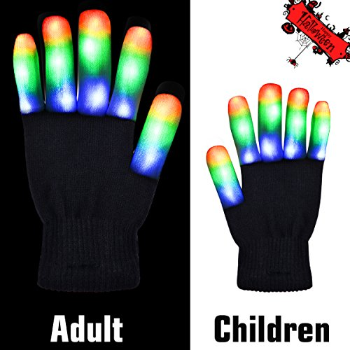 Children/Youth LED Finger Light Gloves,Acokac 6 Mode Colorful Flashing Novelty Toys, Amazing GIFT for Halloween Christmas Birthday Live Show (Instruction Included)