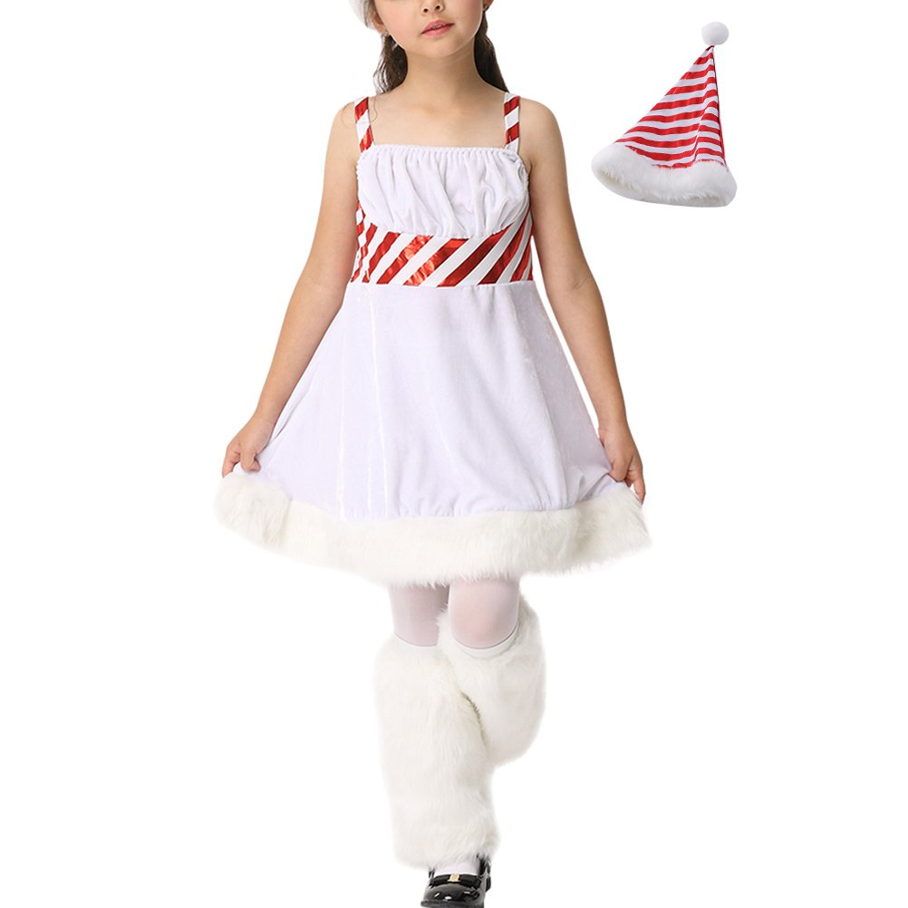 Zhhlaixing Kids Navidad White Princess Dress Cosplay Outfits Little Girls Fashion Sling Dress+Hat+Leg sets: Amazon.es: Ropa y accesorios