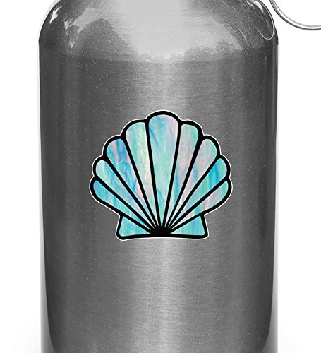Yadda-Yadda Design Co. Shell - Scallop Seashell - Stained Glass Style Vinyl Decal Sticker for Reusable Water Bottle - Copyright (SM 2
