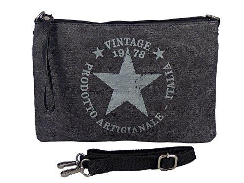 Umhängetasche Canvas Style - Stern Vintage Style - Maße 28 x 20 cm - Damen Mädchen Teenager Tasche mit verstellbaren Schulterriemen - verschiedene Farben Schwarz
