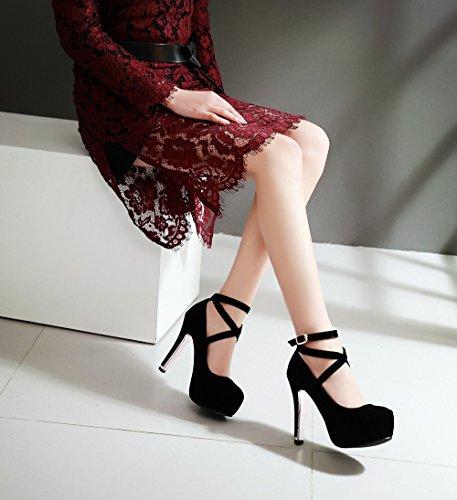 Tiyuxuan Da Donna Elegante Cinturino Alla Caviglia Con Tacco Alto, Punta Rotonda In Nabuk Con Strass Nero 25cm