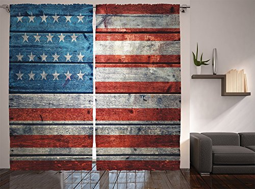 Weathered Copper Angle - American Usa Flag Curtains July Independence Day Weathered Antique Wooden Looking National Celebration Patriotic Image Living Room Bedroom Decor 2 Panel Set