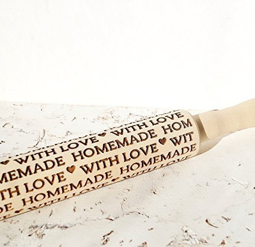 Embossing rolling pin, Homemade with Love design, wooden rolling pin, Cookies decorating roller, Laser engraved rolling pin