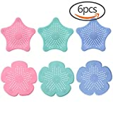 #8: CREATRILL 6 PCS Starfish Sakura Shaped Rubber Shower Drain Hair Catcher Hair stopper Drain protector, 3 Colors (Pink / Blue / Green)