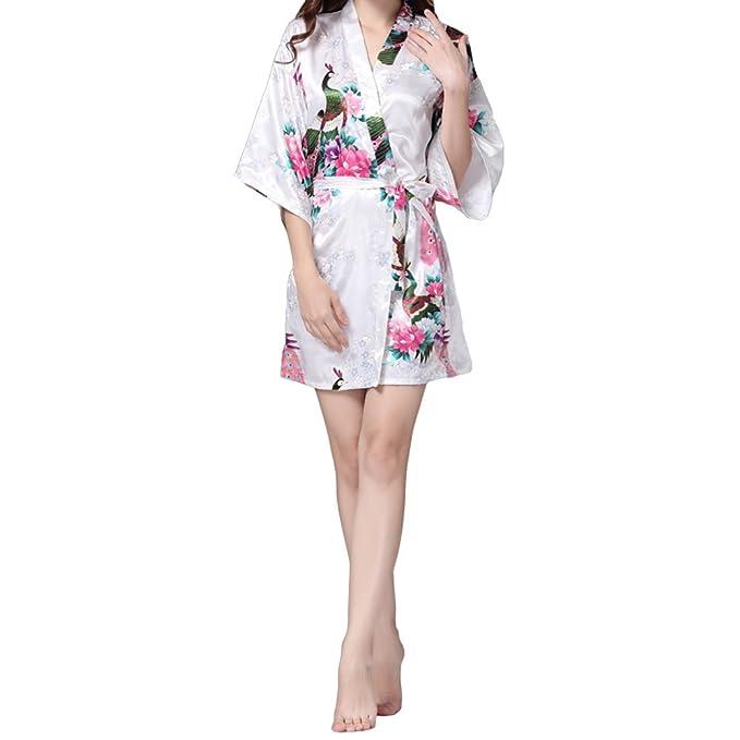 VILLAVIVI Vestido Párrafo Corto Mujer Kimono Pavo Flores Satén Albornoces Pijamas (M, Blanco)