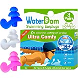WaterDam Swimming Ear Plugs for Adults and Kids 14yr up – 3 Pairs Ultra Comfy Waterproof Earplugs, Prevent Swimmer's Ear (Blue White Pink)