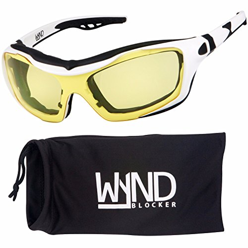 WYND Blocker Motorcycle Riding Glasses Extreme Sports Wrap Sunglasses (White/Yellow)