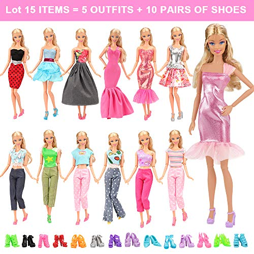(BARWA Lot 15 Items 5 Sets Fashion Casual Wear Clothes Outfit Handmade Party Dress with 10 Pair Shoes for 11.5 Inch Girl Doll Birthday Xmas GIF)