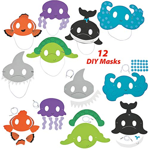 12 DIY Ocean Animal Mask Arts and Crafts Kit | Under the Sea Birthday Supplies, DIY Projects for Kids, Photo Booth Props | Ideal for Home, School, and Parties