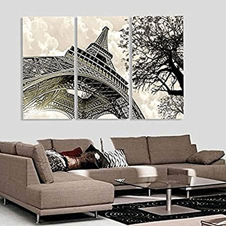 TOPmountain Eiffle Tower 3pcs Abstract Livingroom Home Wall Decor Canvas Paintings Craft Landscape Oil Poster Kicode
