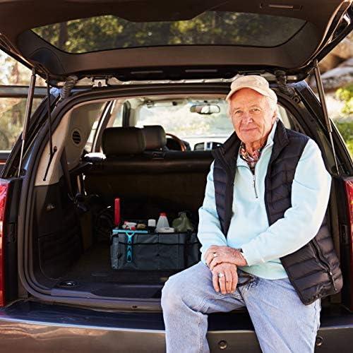 faltbar Relaxdays Kofferraum Organizer Auto schwarz HxBxT: 27,5 x 56 x 44 cm 60 Liter 3 F/ächer Kofferraumtasche