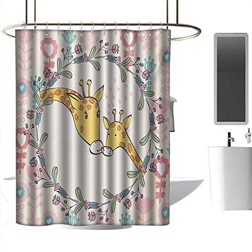 Shower Giraffe Flower Blue (homehot Shower Curtains Blue and Black Giraffe,Cartoon Mom and Animal Figures Surrounded by Floral Ornaments Heart Shapes Flowers,Multicolor,W36 x L72,Shower Curtain for Men)