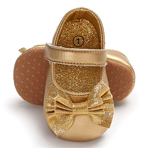 (BENHERO Baby Girls Mary Jane Flats with Bowknot Non-Slip Toddler First Walkers Princess Dress Shoes (12-18 Months M US Infant, A-Gold))