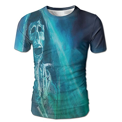 Kooiico Mens Halloween Gothic Dark Background With A Dead Ghost Skull Skeleton Mystical Haunted Horror Theme Classic T-shirt White L