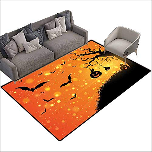 Bathroom Rug Bath Rug Halloween Magical Fantastic Evil Night Icons Swirled Branches Haunted Forest Hill Hard and wear Resistant W6'7 x L9'10 Orange Yellow Black -