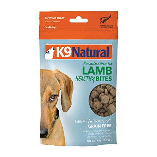 K9 Natural Freeze Dried Dog Treats By Perfect Grain Free, Healthy, Hypoallergenic Limited Ingredients Snacks For All Dog Types - Raw, Freeze Dried Treats - Natural Lamb Bites - 1.76Oz Pack ()