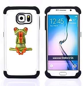 """Pulsar ( Rana Oración Meditación Yoga Blanca"""" ) Samsung Galaxy S6 / SM-G920 SM-G920 híbrida Heavy Duty Impact pesado deber de protección a los choques caso Carcasa de parachoques [Ne"""