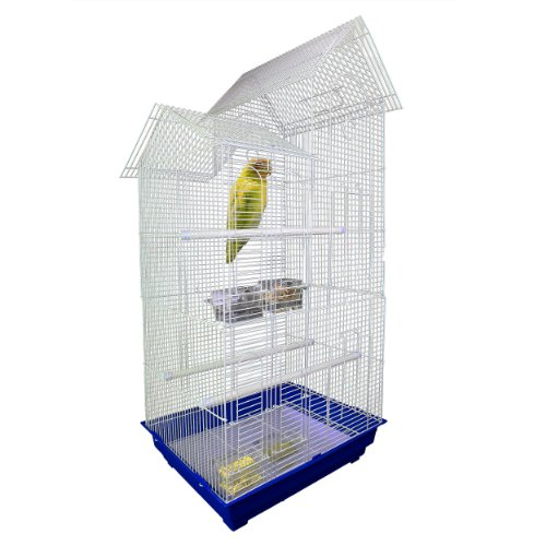 LGI XX-Large White Bird Cage With Perch Handles and Food Containers – XXL Size, My Pet Supplies