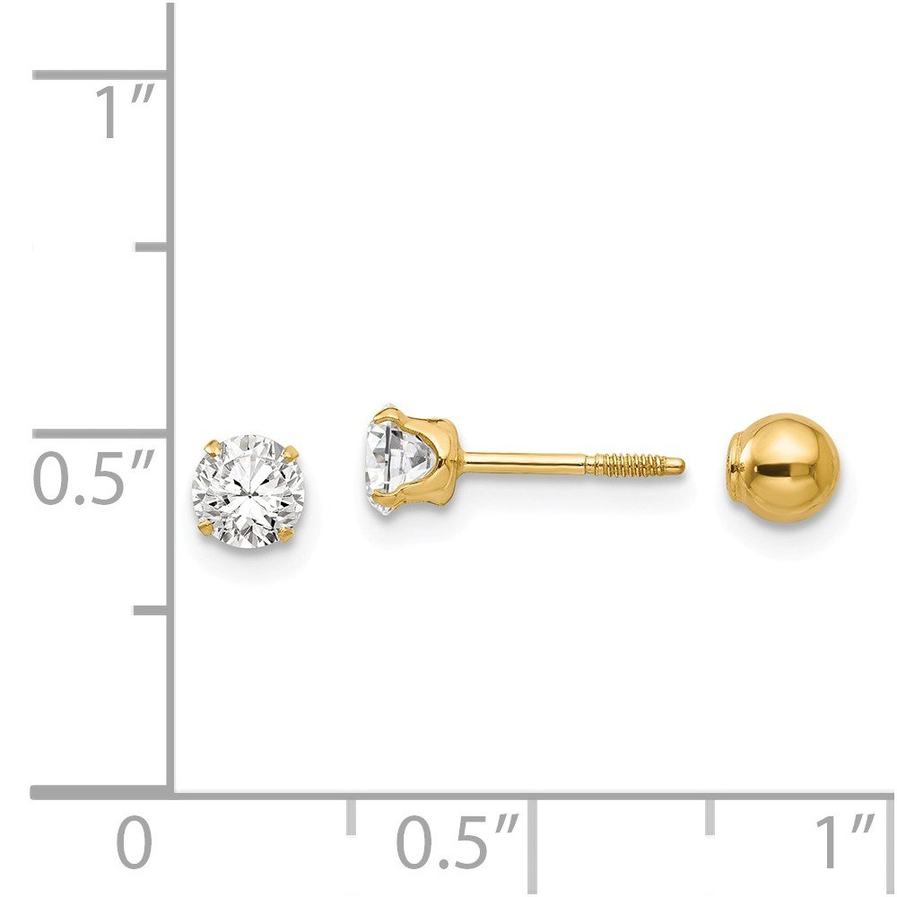 14K Yellow Gold Madi K 4mm Reversible CZ and Ball Earrings