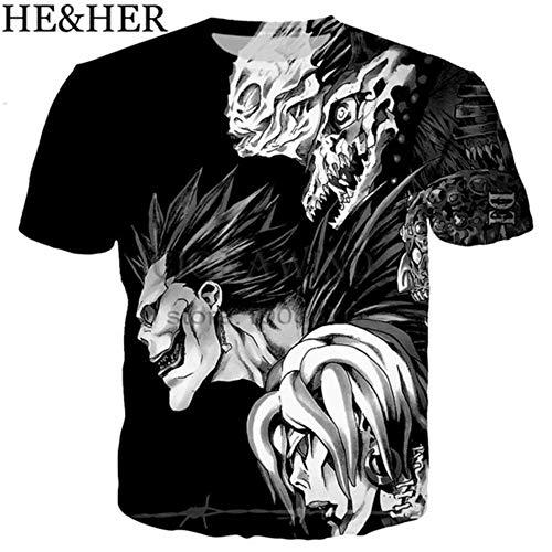 MAZF Funny Anime t Shirt Men/Women t Shirts Skull Printed 3D Death Note tee Shirts Tshirt Streetwear Unisex Summer 03 XXL