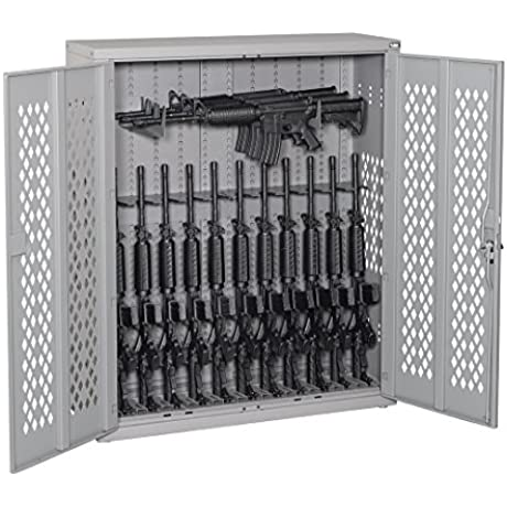 Datum Storage AWC50H12R 2 WS23 Argos Hinged Door Weapons Cabinet Holds 12 Rifles 3 Horizontal Rifles 50 Battleship Grey
