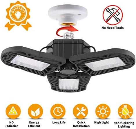 LEDGLE Garage Licht Lampen E27 LED Garagenleuchte 6000K Werkstattlampe 60W 6000 Lumen Garagenbeleuchtung mit 3 verstellbaren Panels für Garage, Werkstatt,Lager, Keller, Scheune