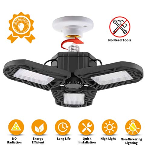 Garage Light LED 60W LEDGLE 6000LM 6000K Deformable Foldable Ultra-Bright E26/E27 Basement Ceiling Lamp Adjustable Bulbs…