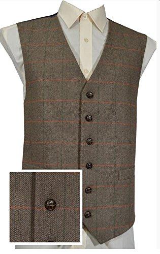 Classic lana manico tradizionale a spina di pesce a scacchi stile Tweed gilet - Pantaloni da cavallerizza