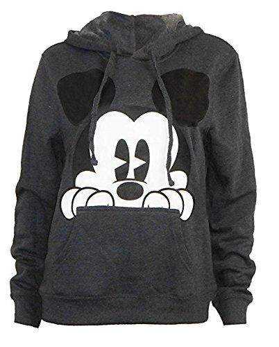 Mickey Mouse Peaking Grey Men's Hoodie Large -