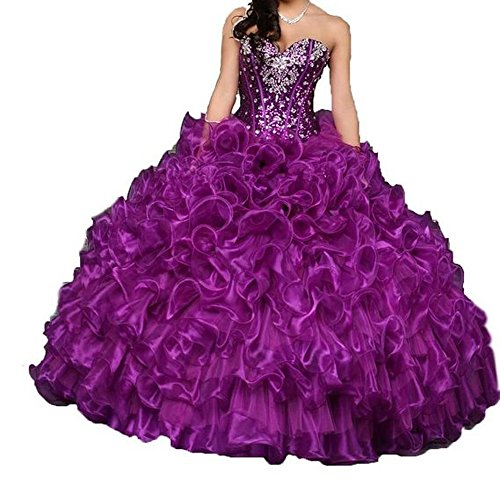 Diandiai Women's Sweetheart Quinceanera Dresses Crystal Ball Gown Prom dress Purple 4
