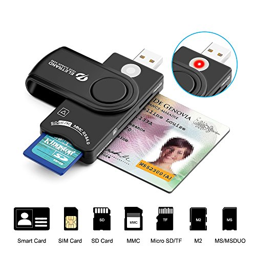 Multi-Function Smart Card Reader, Eletrand DOD Military USB Common Access CAC Smart Card Reader Compatible with Windows, Linux/Unix, Mac OS X - Build in SD/Micro SD/M2/MS/SIM Card Reader Adapter
