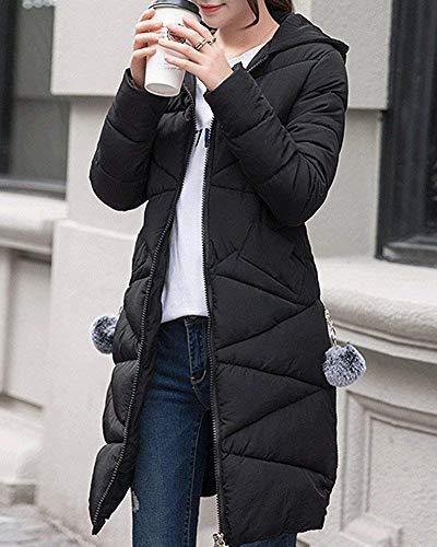Nero Cappuccio Da Large E Sottile Con Dimensione Lungo Donna Invernale Zhrui Giacca Caffè colore qZxwfXZO