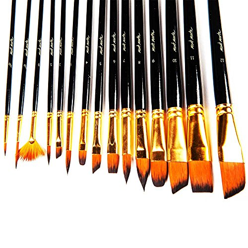 : Mont Marte 15pce Art Paint brushes set for Watercolor, Acrylic, Oil, Great for Artists & Kids