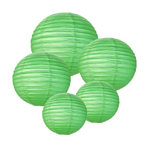 Just-Artifacts-GREEN-ChineseJapanese-Paper-Lanterns-Assorted-2-8inch-2-12inch-1-16inch-Click-for-more-colors