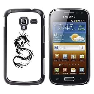 Caucho caso de Shell duro de la cubierta de accesorios de protección BY RAYDREAMMM - Samsung Galaxy Ace 2 I8160 Ace II X S7560M - Decal Black White Monster Tattoo