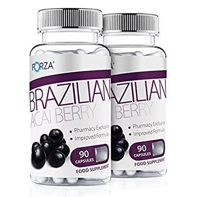 FORZA Acai Berry Reduced Caffeine Diet Pill & Slimming Tablet - 180 Capsules