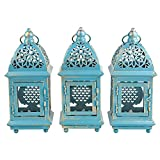 Decorative Candle Holder Hanging & Tabletop Metal Lanterns with LED Candle – Indoor or Outdoor Use (Set of 3)