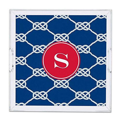 Boatman Geller Nautical Knot Lucite Tray with Single Initial, Z, Square, Multicolored