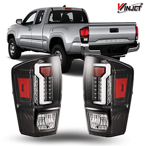 (Winjet WJ20-0466-16 Taillights Lamps Replacement for 2016-2019 Toyota Tacoma Black/Clear LED Tail Lights Glow Bar Running Brake)