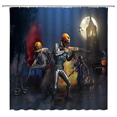 jingjiji Halloween Shower Curtain Haunted House Pumpkin Shooting Game Flame Terror Bathroom Decoration Curtains Polyester Fabric Waterproof with Hook 70 X 70 Inch Dark Blue]()