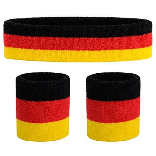Buy now OnUpgo Sweatband Set Sports Headband Wrist Striped Sweatbands Terry Cloth Wristband